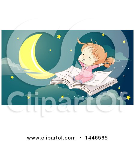 Clipart of a Sketched Happy Red Haired White Girl Flying on an Open Book Against a Night Sky - Royalty Free Vector Illustration by BNP Design Studio