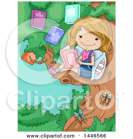 Clipart of a Cartoon Happy Blond White Girl Reading a Book in a Tree - Royalty Free Vector Illustration by BNP Design Studio