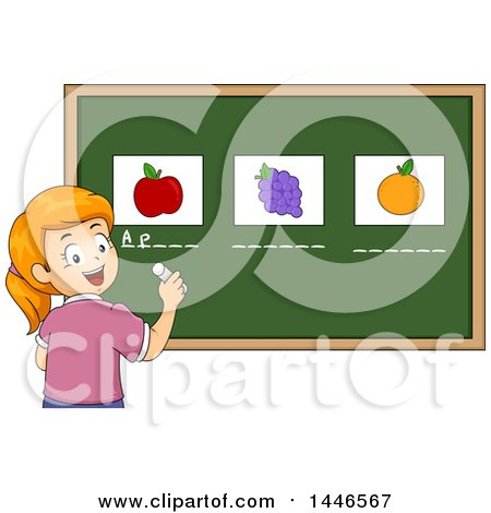 Clipart of a Happy Red Haired White School Girl Writing the Names Under Fruits on a Chalkboard - Royalty Free Vector Illustration by BNP Design Studio