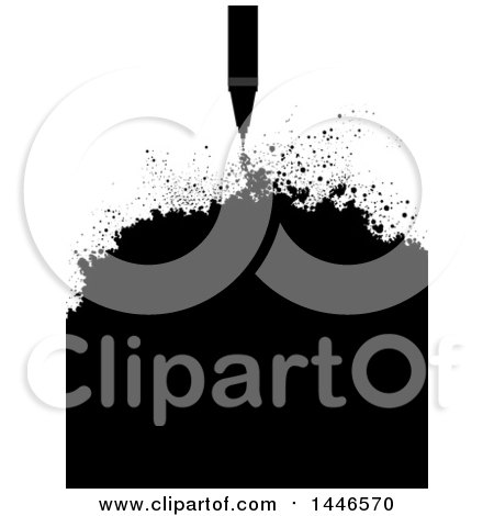 Clipart of a Grayscale Technical Pen with Ink Splatters - Royalty Free Vector Illustration by BNP Design Studio