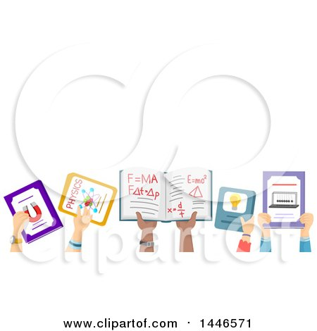 Clipart of a Group of Child Hands Holding up School Books - Royalty Free Vector Illustration by BNP Design Studio