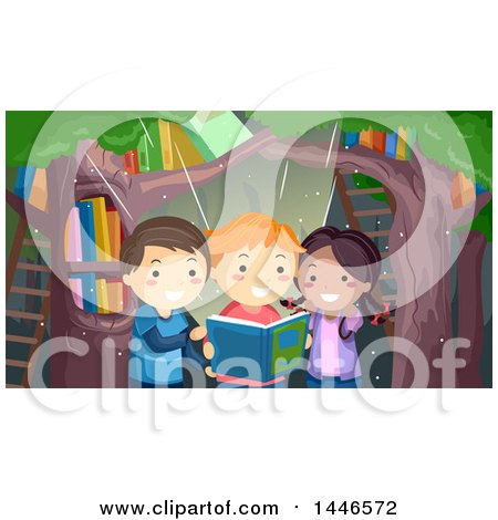 Clipart of a Group of Three Children Reading a Magical Book in a Forest - Royalty Free Vector Illustration by BNP Design Studio