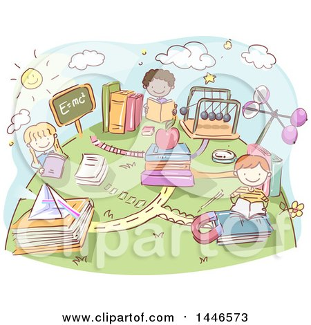 Clipart of a Sketched Group of School Kids Reading Physic Books - Royalty Free Vector Illustration by BNP Design Studio