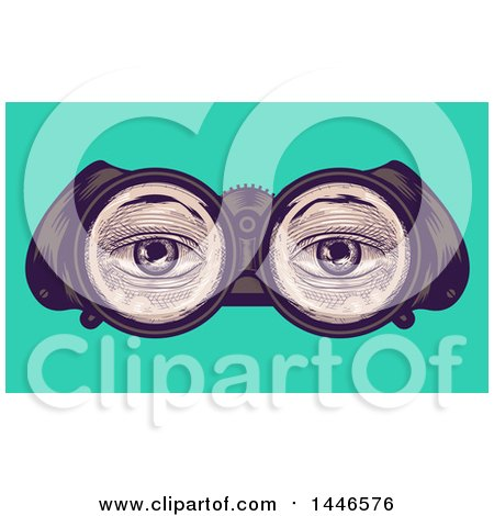 Clipart of a Cross Hatching Sketched Styled Pair of Eyes Through Binoculars, over Turquoise - Royalty Free Vector Illustration by BNP Design Studio