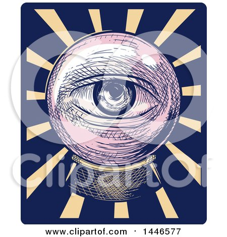 Clipart of a Cross Hatching Sketched Styled Eye Looking out Through a Crystal Ball, over Rays - Royalty Free Vector Illustration by BNP Design Studio