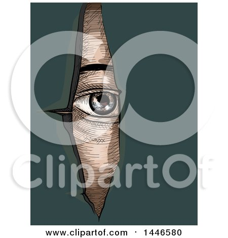 Clipart of a Cross Hatching Sketched Styled Eye Looking Through Torn Paper, over Teal - Royalty Free Vector Illustration by BNP Design Studio