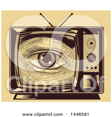 Clipart of a Cross Hatching Sketched Styled Eye Looking Through a Tv Set, over Yellow - Royalty Free Vector Illustration by BNP Design Studio