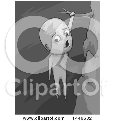 Clipart of a Grayscale Distressed Man Hanging over a Cliff - Royalty Free Vector Illustration by BNP Design Studio