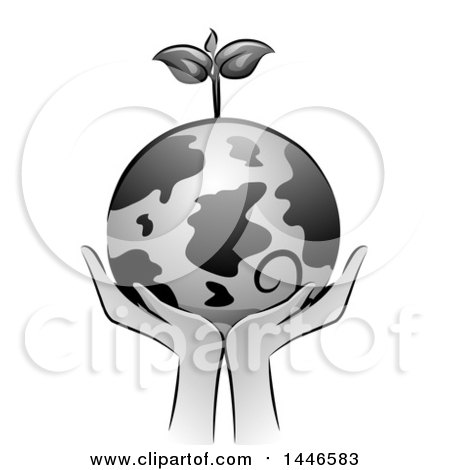 Clipart of a Grayscale Pair of Hands Holding up a Globe with a Seedling Plant - Royalty Free Vector Illustration by BNP Design Studio