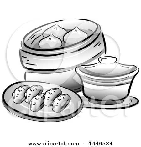 Clipart of Grayscale Chinese Dipsum - Royalty Free Vector Illustration by BNP Design Studio
