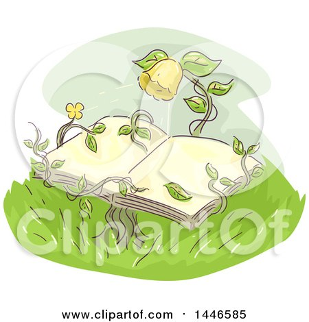 Clipart of a Sketched Yellow Flower and Vines Holding an Open Book - Royalty Free Vector Illustration by BNP Design Studio