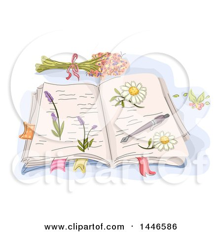 Clipart of a Sketched Open Book with Pressed Flowers - Royalty Free Vector Illustration by BNP Design Studio
