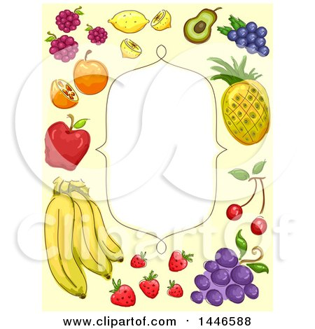 Clipart of a Frame with a Border of Sketched Fruit - Royalty Free Vector Illustration by BNP Design Studio