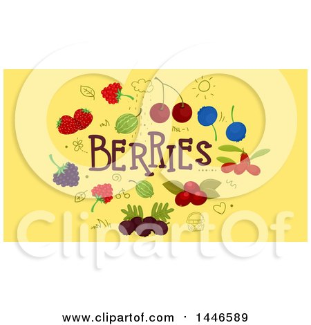 Clipart of Doodles and Berries with Text on Yellow - Royalty Free Vector Illustration by BNP Design Studio