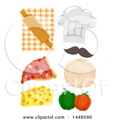 Clipart of a Chef Hat and Pizza Ingredients - Royalty Free Vector Illustration by BNP Design Studio