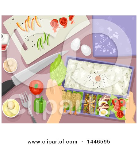 Clipart of a Pair of Hands Preparing a Bento Meal - Royalty Free Vector Illustration by BNP Design Studio