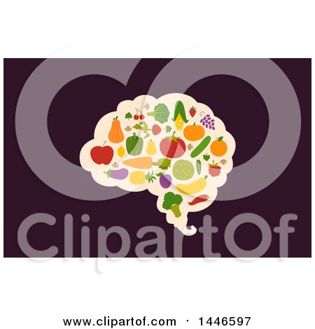 Clipart of a Brain with Vegetables and Fruit over Dark Purple - Royalty Free Vector Illustration by BNP Design Studio