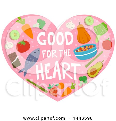 Clipart of Good for the Heart Text with Heathly Foods on Pink - Royalty Free Vector Illustration by BNP Design Studio