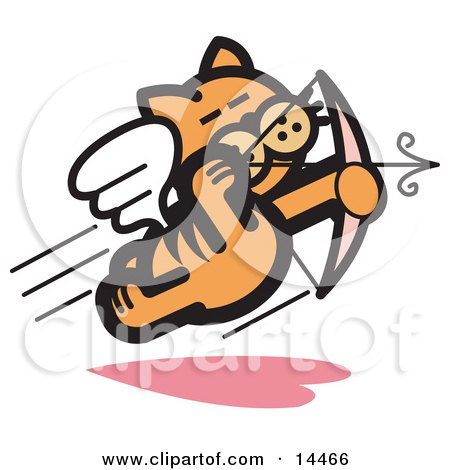Orange Cat Flying Like Cupid And Shooting Arrows With A Bow On Valentine's Day Clipart Illustration by Andy Nortnik