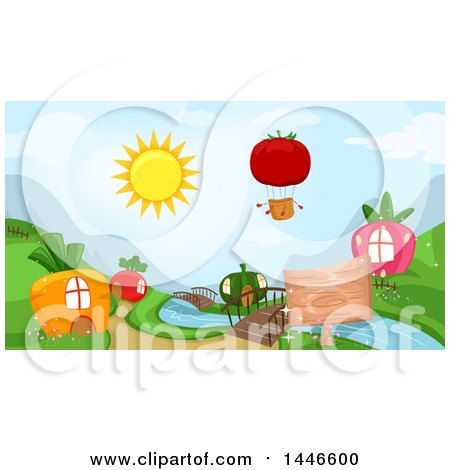 Clipart of a Tomato Hot Air Balloon over Carrot, Radish, Squash and Strawberry Houses - Royalty Free Vector Illustration by BNP Design Studio