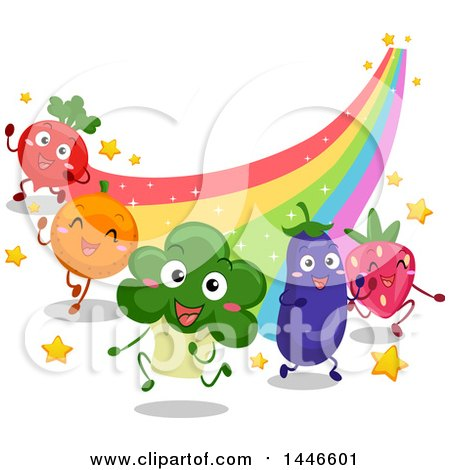 Clipart of a Grou of Energetic Happy Vegetables and Fruits Running at the End of a Rainbow - Royalty Free Vector Illustration by BNP Design Studio