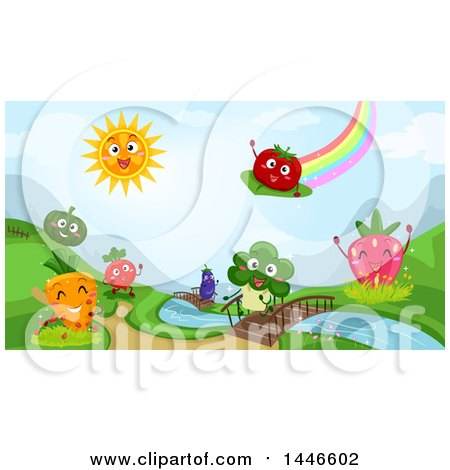 Clipart of a Rainbow and Sun over a Landscape of Happy Fruits and Vegetables by a Stream - Royalty Free Vector Illustration by BNP Design Studio