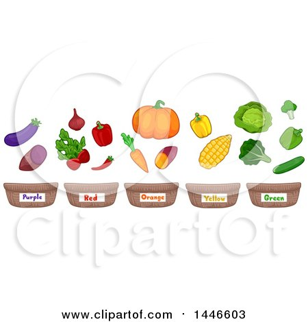 Row of Color Labeled Baskets Under Vegetables and Fruits Posters, Art Prints