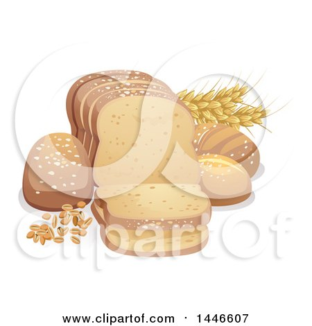 Clipart of Wheat and Grains with Bread - Royalty Free Vector Illustration by BNP Design Studio