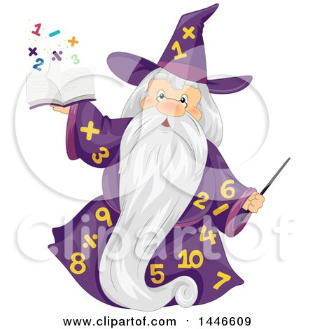 Clipart of a Senior Wizard in a Number Gown, Holding up a Magic Math Book - Royalty Free Vector Illustration by BNP Design Studio