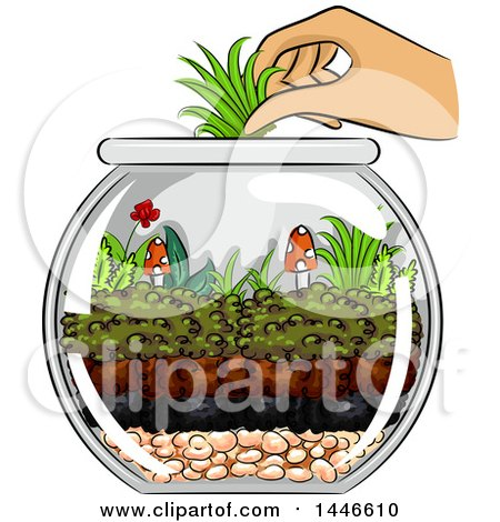 Clipart of a Hand Adding Grass to a Terrarium with Mushrooms and a Little Flower - Royalty Free Vector Illustration by BNP Design Studio