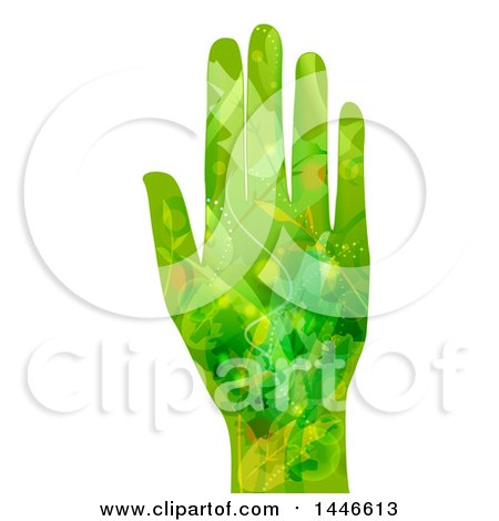 Clipart of a Hand with an Open Palm in a Green Leaf and Vine Pattern - Royalty Free Vector Illustration by BNP Design Studio