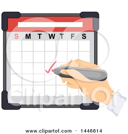 Clipart of a Hand Writing a Check Mark on a Calendar - Royalty Free Vector Illustration by BNP Design Studio