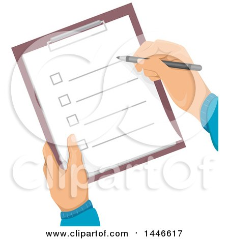 Clipart of a Pair of Hands Holding and Checking off Items on a Check List - Royalty Free Vector Illustration by BNP Design Studio