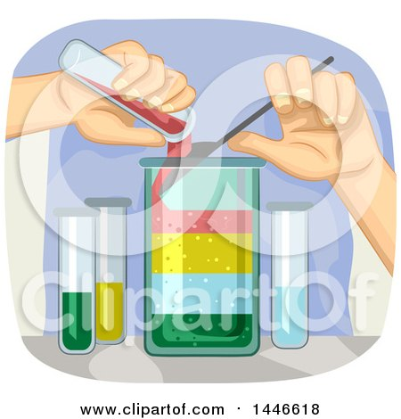 Clipart of a Pair of Hands Conducting a Science Experiment Showing the Different Densities of Liquids - Royalty Free Vector Illustration by BNP Design Studio