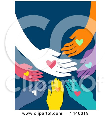 Clipart of a Group of Colorufl Hands with Hearts on Blue - Royalty Free Vector Illustration by BNP Design Studio