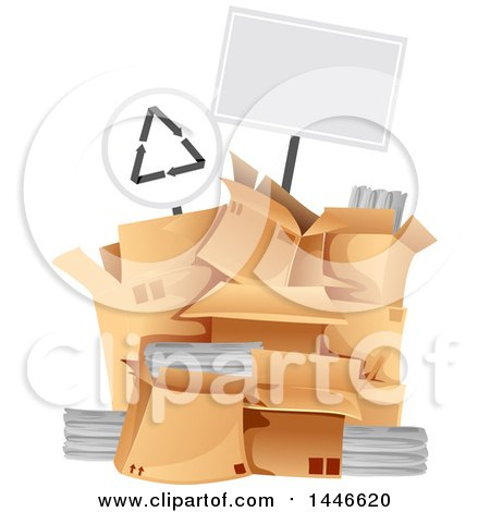 Clipart of a Blank Sign over a Pile of Boxes with Recycleable Materials - Royalty Free Vector Illustration by BNP Design Studio