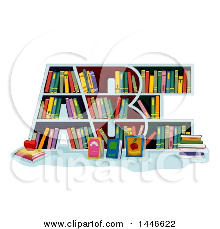 Clipart of a Library Book Shelf in the Shape of ABC - Royalty Free Vector Illustration by BNP Design Studio