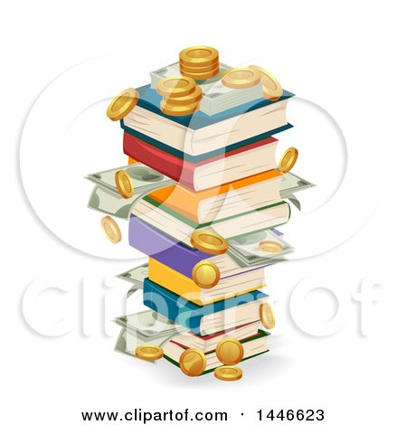 Clipart of a Stack of Book Swith Coins and Cash Money - Royalty Free Vector Illustration by BNP Design Studio