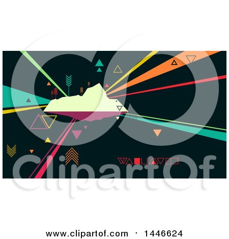 Clipart of a Retro Abstract Island with Colorful Rays and Arrows - Royalty Free Vector Illustration by BNP Design Studio