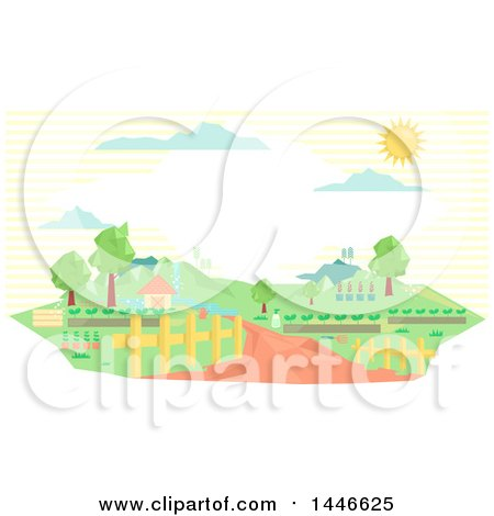 Clipart of a Gemetric Country Landscape with a Cottage and Driveway at a Farm - Royalty Free Vector Illustration by BNP Design Studio