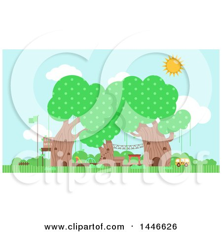Clipart of a Preschool in Trees - Royalty Free Vector Illustration by BNP Design Studio
