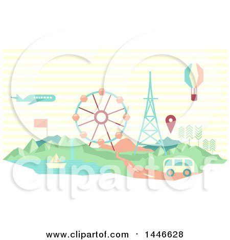 Clipart of a Retro Geometric Van, Plane, Hot Air Balloon and Sailboat with a Map Marker over a Carnival - Royalty Free Vector Illustration by BNP Design Studio