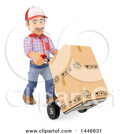 Clipart of a 3d Shipping Warehouse Worker Moving Boxes with a Hand Truck, on a White Background - Royalty Free Illustration by Texelart