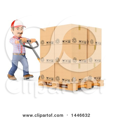 Clipart of a 3d Shipping Warehouse Worker Moving Boxes on a Pallet Truck, on a White Background - Royalty Free Illustration by Texelart