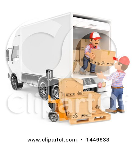 Clipart of 3d Shipping Warehouse Workers Unloading a Delivery Truck Full of Boxes, on a White Background - Royalty Free Illustration by Texelart