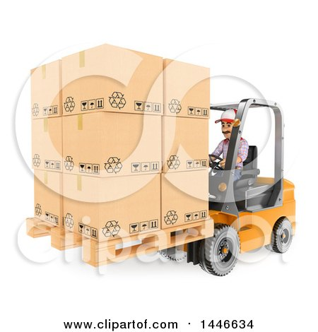 Clipart of a 3d Shipping Warehouse Worker Moving a Pallet of Boxes with a Forklift, on a White Background - Royalty Free Illustration by Texelart