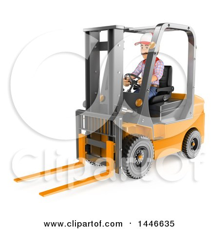 Clipart of a 3d Shipping Warehouse Worker Operating a Forklift, on a White Background - Royalty Free Illustration by Texelart