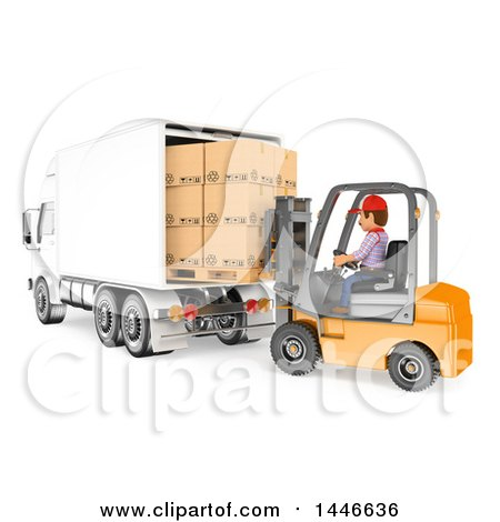 Clipart of a 3d Shipping Warehouse Worker Loading a Truck Full of Boxes with a Forklift, on a White Background - Royalty Free Illustration by Texelart