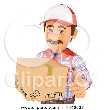 Clipart Of A 3d Shipping Warehouse Worker Mover Or Delivery Man Giving A Thumb Up And Holding A Box On A White Background Royalty Free Illustration