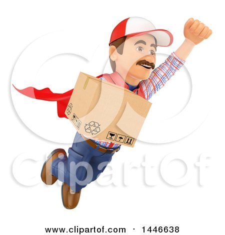 Clipart of a 3d Shipping Warehouse Worker, Mover or Delivery Man Flying with a Box, on a White Background - Royalty Free Illustration by Texelart